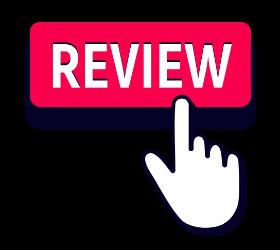 Cartoon finger pressing review button