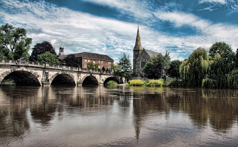 overlooking river severn in shrewsbury, shropshire, uk