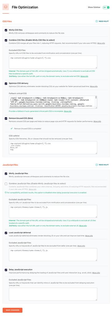wp rocket file optimisation settings