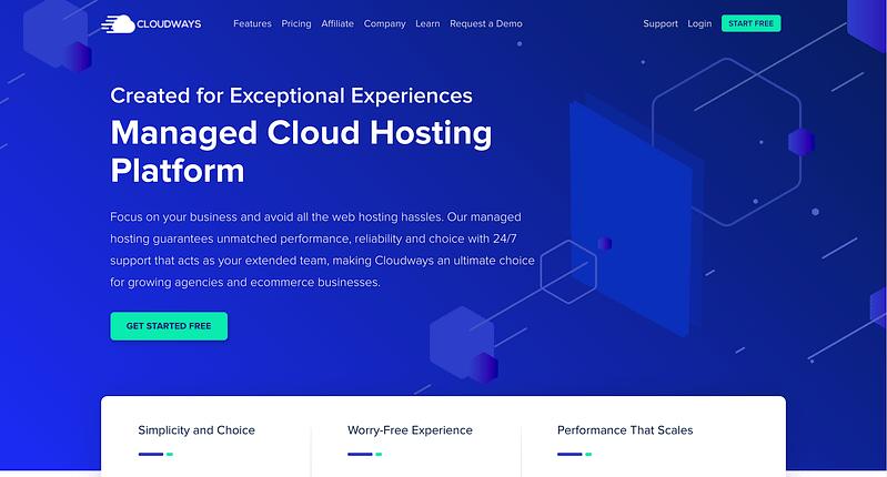 Cloudways Hosting Website Homepage