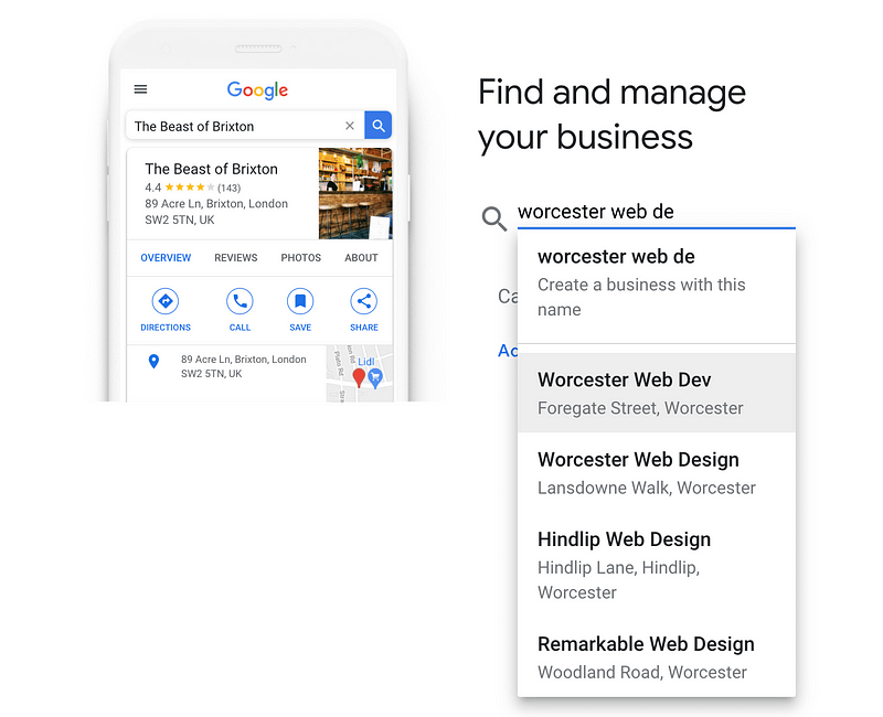 Entering business name into Google My Business