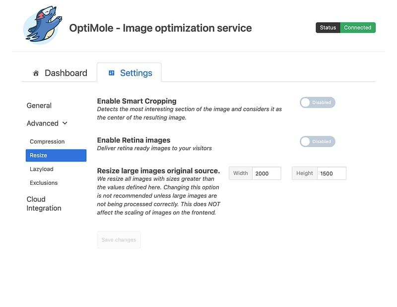 optimole resize settings
