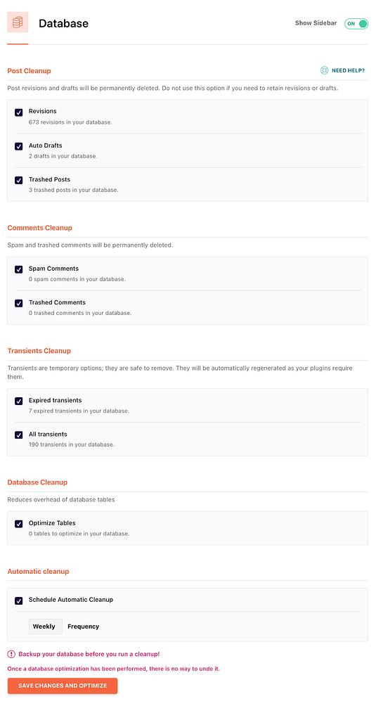 qp rocket database settings