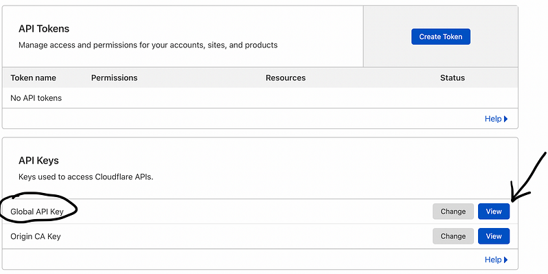 cloudflare Get your API token page