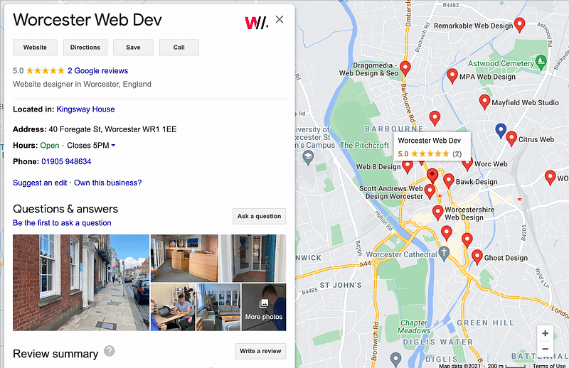 Worcester Web Dev's Google Maps listing next to map of Web design agencies in Worcester