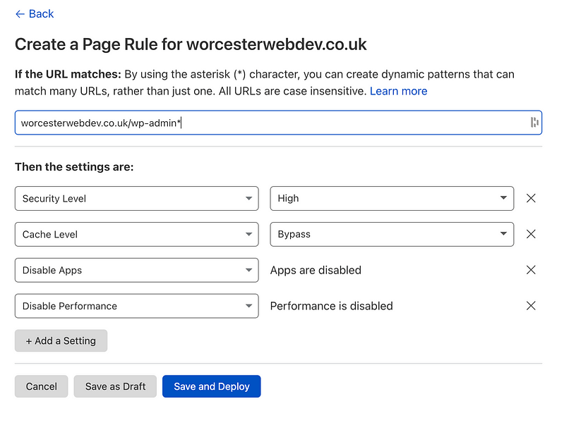 cloudflare wp admin page rules
