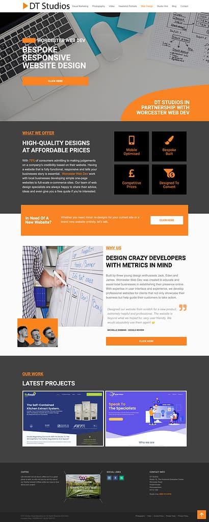 DT Studios Partership page wwd web design page