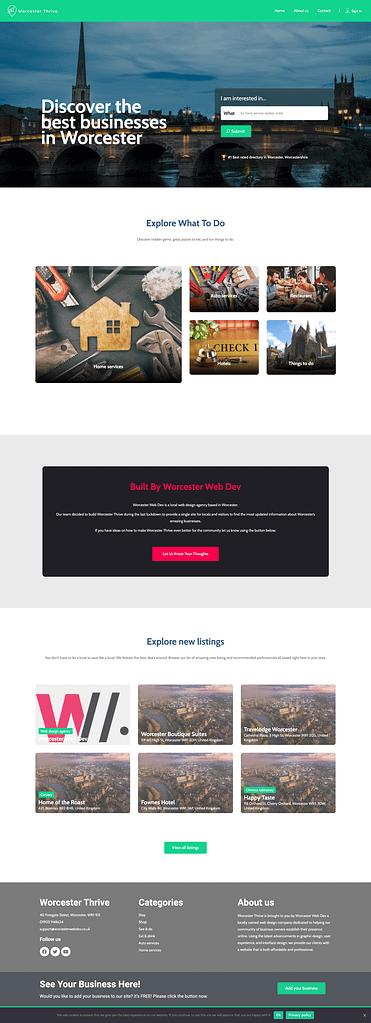 Worcester thrive website homepage