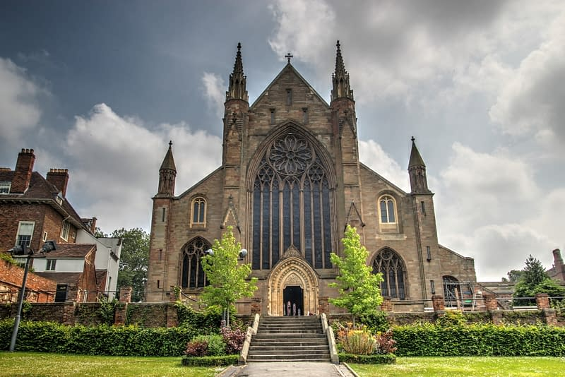 Entrance to Worcester Cathedral, worcestershire, uk