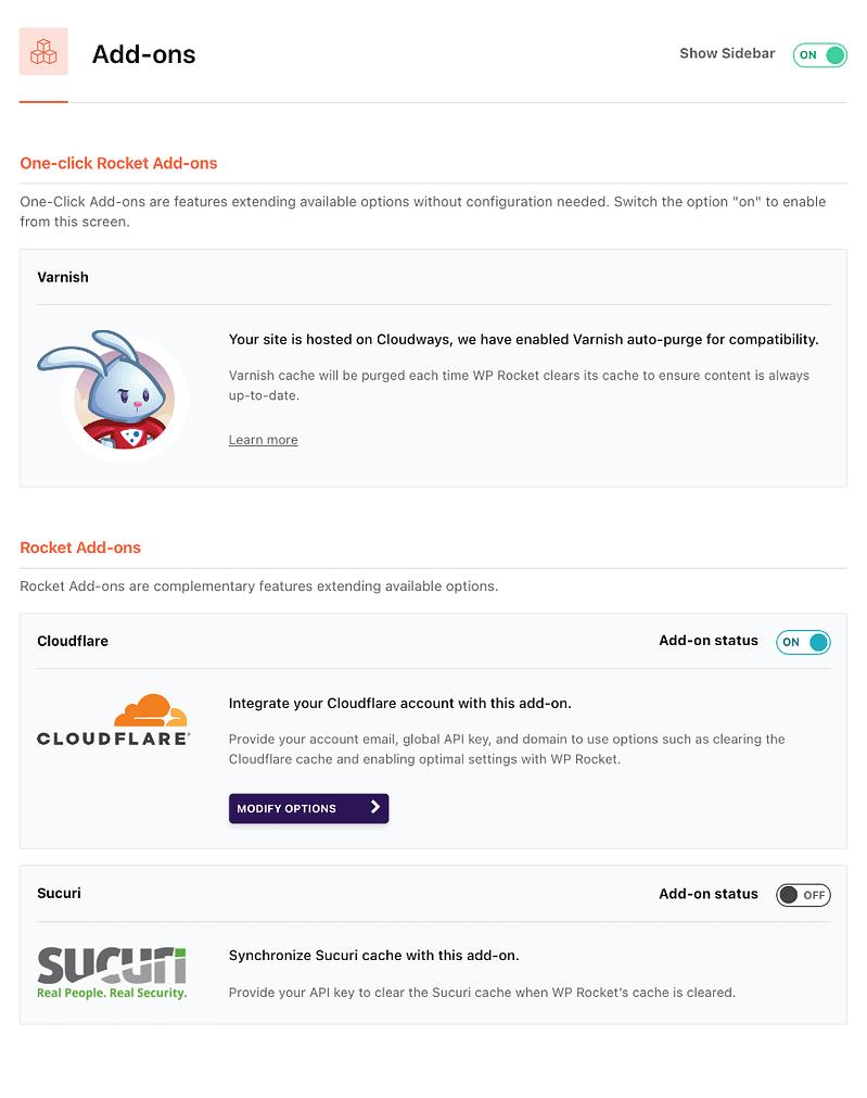 wp rocket add-ons settings