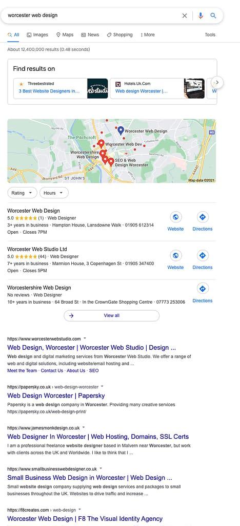 screenshot of google search Worcester Web Design